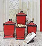 Tuscany Pistachio Green, Ruffle 4-Piece Canister Set, Your Choice of color by ACK (RED)