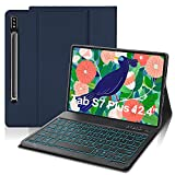 IVEOPPE Funda con Teclado para Samsung Galaxy Tab S7 Plus 12.4'', Teclado Bluetooth 7 Colores Retroiluminada Español Ñ con Cubierta Tipo Folio de PU para SM-T970 / T975 / T976 (Azul Oscuro)
