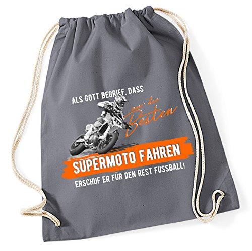 siviwonder Turnbeutel - GOTT besten SUPERMOTO fahren vintage Bike NO Fußball - Baumwoll Tasche Beutel grau