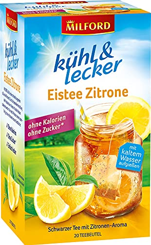 Milford kühl & lecker Eistee Zitrone, ohne Kalorien, ohne Zucker, laktosefrei, glutenfrei, vegan, 20 Teebeutel, 50 g
