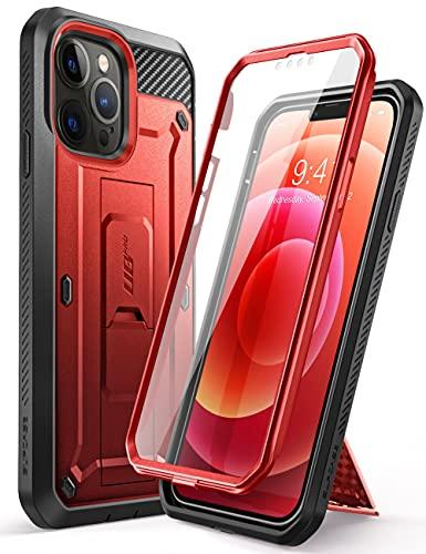 SUPCASE Funda iPhone 13 Pro MAX 2021 6.7 [Unicorn Beetle Pro] Carcasa Resistente de Cuerpo Completo Case con Protector de Pantalla Integrado y con función Atril - Rojo