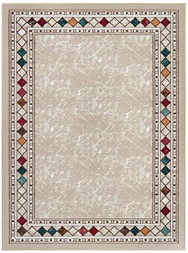 "Modern Bordered 4x6 Non-Skid Low Profile Pile Rubber Backing Indoor Area Rugs (Beige, 4' x 5'8"")"