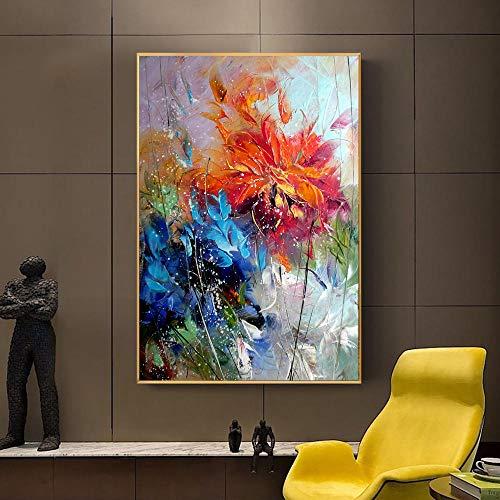 Liangzheng Acuarela Abstracta Flor de Naranja Azul Pintura al óleo sobre Lienzo Cartel e Imagen Impresa Arte de Pared Cuadros decoración de la habitación del hogar 60x80cmx1 sin Marco
