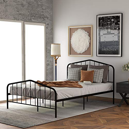 Sturdy Metal Bed Frame Full Size with Vintage Headboard and Footboard, Platform Mattress Base, No Box Spring Needed (Black, Full)