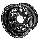 Outland 391550010 These black D-window steel wheels from Outland Automotive fit 55-83 Jeep CJ5 55-75 CJ6 76-86 CJ7 and 81-86 CJ8. Wheel D Window Wheel 15x8 Black 5x5.5