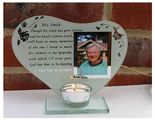 His Smile - Inspirational Poem, Candle and Photo Holder Glass Memorial Plaque
