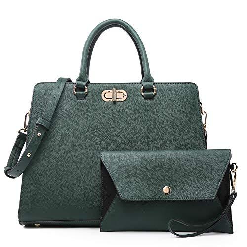 Dasein Women Handbags Purses Satchel Bag Top Handle Work Tote Shoulder Bag with Matching Wallet 2pcs Set (Peppled dark green)