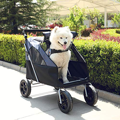 LAZY BUDDY Dog Stroller with 4 Rubber Wheels, Upgrade Spacious Stroller for Big/Medium Dogs, Foldable Traveling Carrier with Adjustable Handle for Dogs, Cats and Other Pets