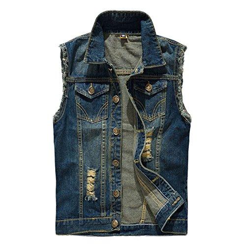 MISSMAOM Uomo Giacca Denim Jeans Denim Panciotto Senza Maniche della Maglia Gilet in Jeans Tipo 1 M