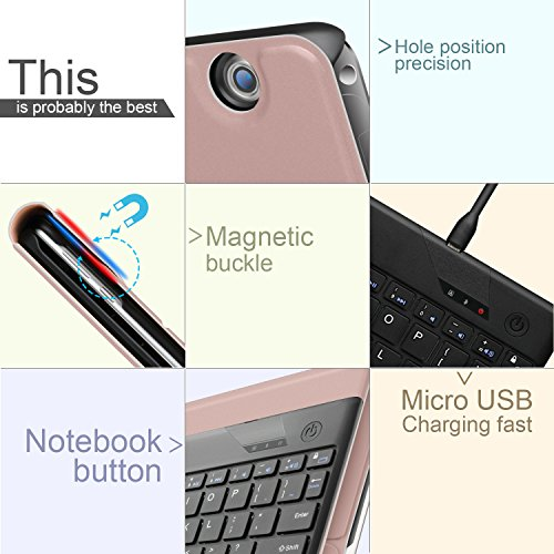 ELTD Huawei MediaPad T3 10 Tastatur, Detachable Kabellose Tastatur (QWERTZ Tastatur) mit Standfunction Für Huawei MediaPad T3 10, Rosegold - 3