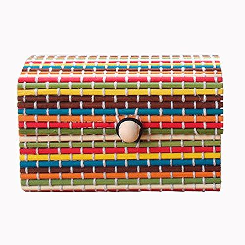 Yonlanclot Cortina de bambú Sundries Box Joyería Anillo de Almacenamiento Collar Pendientes Caja de Madera