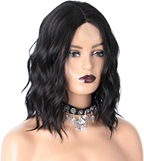 Portonss Short Wave Wigs for Women Synthetic Shoulder Length Middle Part Naturally Bob Pastel Wavy Wigs for Daily 14inch