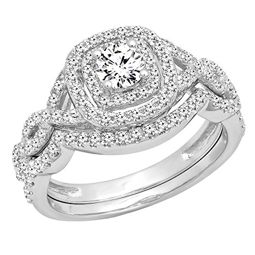 Dazzlingrock Collection 1.00 Carat (ctw) 14K White Diamond Swirl Bridal Halo Engagement Ring Set 1 CT, White Gold, Size 10