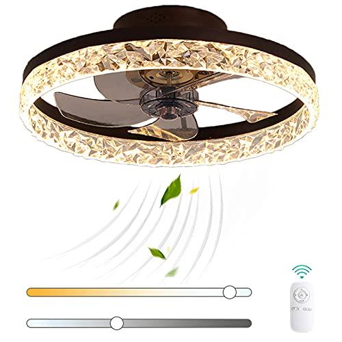 Moderno Cristal Luz del Ventilador LED Regulable Ventilador de Techo con Lámpara y Mando a Distancia 72W Metal Silenciar Ventilador Velocidades de Viento Ajustables para Salón Cuarto VOMI