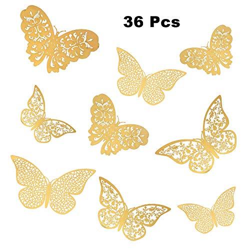 36 piezas mariposas decorativas 3d, mariposas pegatinas de pared decorativas para la decoración de la fiesta de cumpleaños dormitorio de la boda decoración del hogar (Oro)