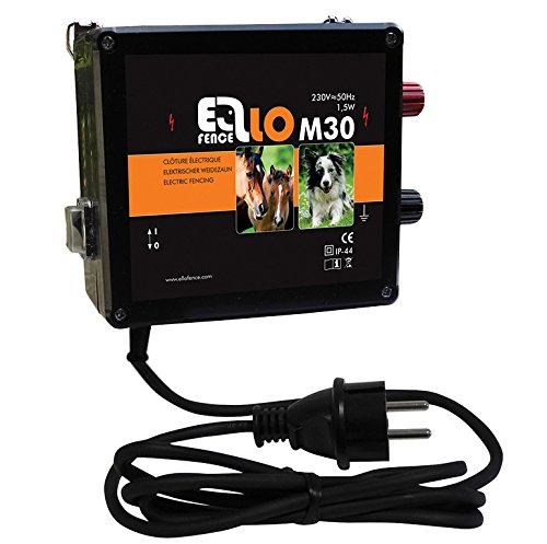 Ellofence Weidezaungerät/Elektrozaungerät M30 - Extrem leise! - für Hundezaun und Pferdepaddocks, 230V