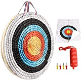 SZYMWS Traditional Solid Straw Round 3 Laryes 20 inch Hand-Made Archery Target Face for Recurve Bow Longbow Shooting Practice with 4 Paper Target Face