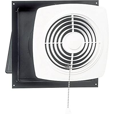 Broan-Nutone 506 Chain-Operated Ventilation Fan, Plastic White Square Exhaust Fan, 7.5 Sones, 430 CFM, 10""