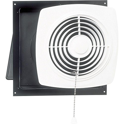Broan-Nutone 506 Chain-Operated Ventilation Fan, Plastic White Square Exhaust Fan, 7.5 Sones, 430 CFM, 10'