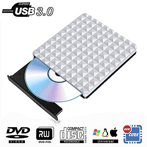 Grabadora DVD Externa USB 3.0, Portátil Óptica Lector Externo Unidad DVD CD Burner Compatible para Windows10/7/8,Laptop,Mac,Chromebook,Desktop,PC