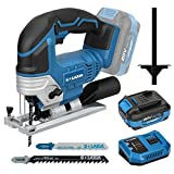 G LAXIA DC-20V Max 4.0Ah Lithium Ion 2300SPM Cordless Jig Saw tool with Battery, Charger and 2Pcs T-Shank Blades for Wood/Soft Metal/PVC Cutting