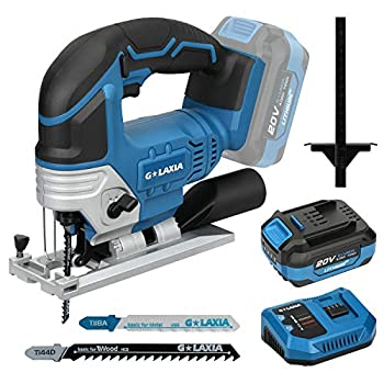 G LAXIA DC-20V Max 4.0Ah Lithium Ion 2300SPM Cordless Jig Saw tool with Battery Charger and 2Pcs T-Shank Blades for Wood/Soft Metal/PVC Cutting