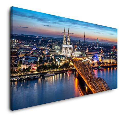 Paul Sinus Art Köln Skyline 120x 60cm Panorama Leinwand Bild XXL Format Wandbilder Wohnzimmer Wohnung Deko Kunstdrucke