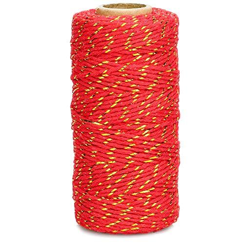 Weihnachtsschnur, 100 m rot und gold, 2 mm Craft-Baumwollschnur, rote Weihnachtsschnur zum Geschenkverpacken
