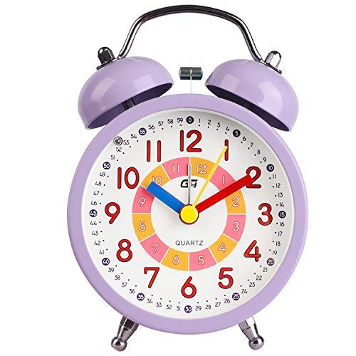 DTKID Relojes de Alarma silenciosos para niños, niñas, Junto a la Cama, sin tictac, con Pilas, Relojes de Mesa con Campana Doble, función de luz Nocturna para el Dormitorio [Clase energética A +++]