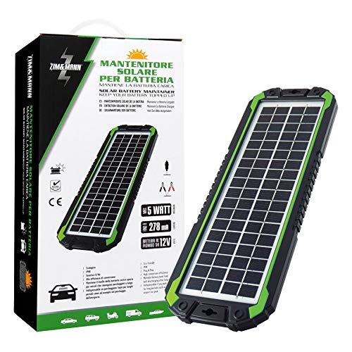 ZIM&MANN - Panel Solar portátil, batería de Repuesto y Cargador para Coche y Barco, Clip de cocodrilo, Adaptador, 5 W 12 V
