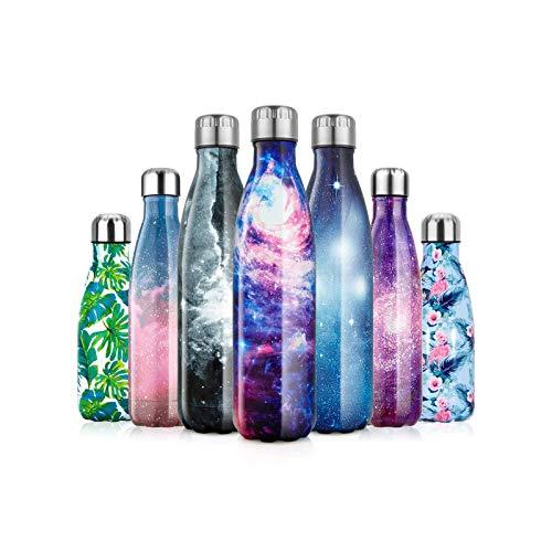 litulituhallo Botella de agua de acero inoxidable a prueba de fugas de doble pared frasco de agua de metal para 12 horas caliente y 24 horas fría