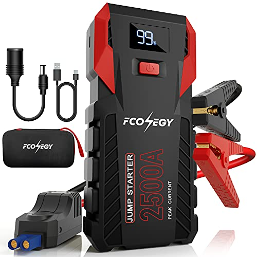 FCONEGY Car Jump Starter, 2500A Peak 26000mAh Portable Car Battery Starter Auto Battery Booster Pack with Smart Safety Jumper Cable,Type-C18W Input/Outputs