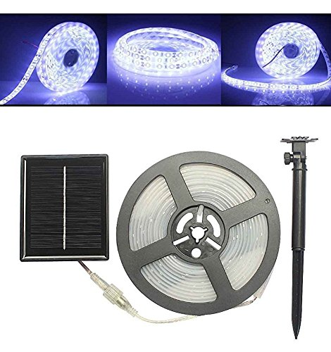 Solar LED Strip Light,AMZSTAR 100 LED Waterproof SMD2835 16.4ft/5M Flexible Rope Light for Garden,Yard,Path,Patio,Party,Christmas Decorative (White)
