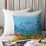 Bedding Fundas de Almohada ,Acuario, rico bajo el mar paisaje siluetas de peces coloridas plantas exóticas y conchas decorAlmohada cómodo Sofá rectángulo Funda de Cojín Decoración para El Hogar45x45cm