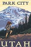Park City, Utah - Hiker and Mountain (9x12 Fine Art Print, Home Wall Decor Artwork Poster)