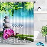 LB Zen Duschvorhang 180X180cm Grauer Stein,Sand,Orchidee,grüner Bambus Bad Gardinen mit Vorhanghaken Polyester Wasserdicht Anti Schimmel Badezimmer Vorhang