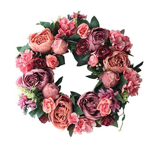 15.75in Pivoine artificielle Crevette, Silk fausse gerbe décoration avec fleur pour la porte d'entrée, maison, fenêtre, mur, mariage, fête