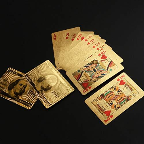 TOYANDONA 2 Sets Luxe Speelkaarten Waterdichte Goudfolie Dollar Stijl Pokerkaarten Draagbare Pokerkaarten