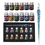 Mancola Juego de tinta de cristal sumergida hecha a mano con 12 tintas coloridas para arte, firmas, caligrafía, dibujo, decoración, regalo para principiantes y artista-Ma-13