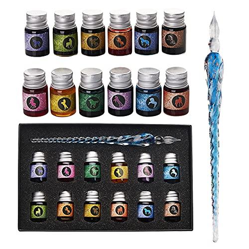 Mancola - Set di penne a inchiostro in vetro con 12 inchiostri colorati per arte, firme, calligrafia, disegno, decorazione, regalo per principianti e artisti, Ma-13
