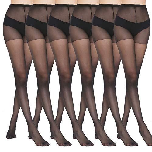 MANZI 6 Pairs Black Pantyhose for Women 20 Denier High Waist Sheer Tights(Black,Large)