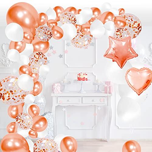 Palloncini Rosa Gold, Palloncini Oro Rosa, 120 Pezzi Palloncini Kit Ghirlanda Arco, Palloncini con Coriandoli per Matrimonio, Baby Shower, Laurea, San Valentino,Cerimonia Party Decorazioni