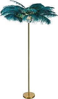 Lampadaire LED moderne en plumes d'autruche - Éclairage doux et romantique - Pour salon, chambre à coucher, bureau - Coule...