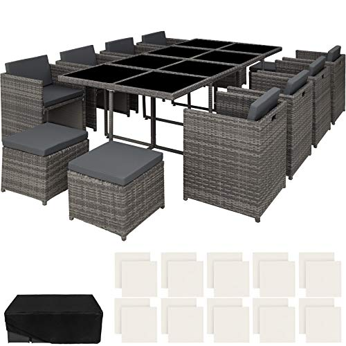 TecTake 800674 Conjunto Muebles de Jardín en Aluminio y Ratán Sintético, para 12 Personas, 1 Mesa + 8 Sillones + 4 Taburetes, Funda Protectora (Gris | no. 403090)