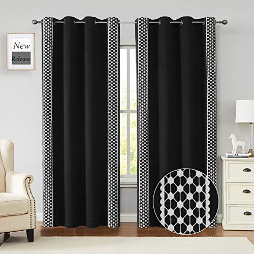 Jubilantex White and Black Blackout Curtains 84 Inch Length 2 Panels for Bedroom, 100% Blackout Farmhouse Embroidery Geometric Boho Grommet Top Drapes for Living Room, Office, 52x84 Inch