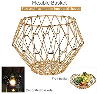 Jion Ware Flexible Gold Wire Basket Transforming For Fruit Bread or Decorative Items