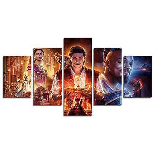 DSNICK-CP 5 Piezas HD Aladdin-2019-movie Canvas Scene Wall Art Painting para el hogar Sala de Estar Oficina Mordern Decoración,B,30x40cmx2;30x60cmx2;30x80cmx1