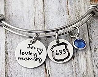 Memorial Police Bracelet Sympathy Gift With Badge And Birthstone
