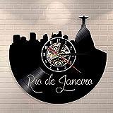 Nzlazbc Brazil Rio Cityscape Vinyl Record Wall Clock Jesus Statue Christ Decor Wall Watch Rio de Janeiro Wall Art Landscape Wall Clock