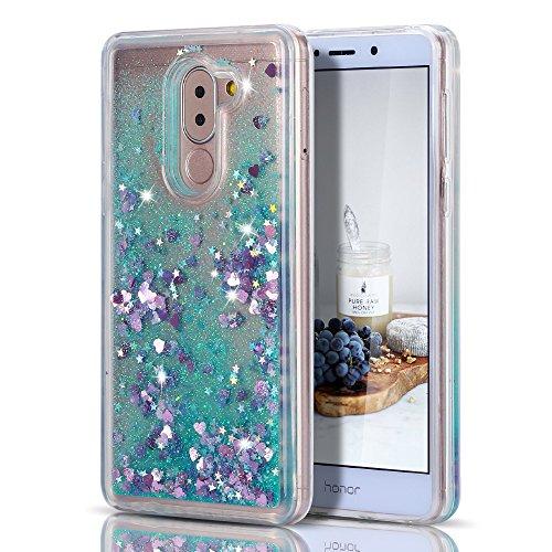 Caselover Funda Huawei Honor 6X, 3D Bling Silicona TPU Arena Movediza Lentejuelas Carcasa para Honor 6X Glitter Líquido Brillar Cristal Sparkle Protección Caso Suave Transparente Bumper Case Cover